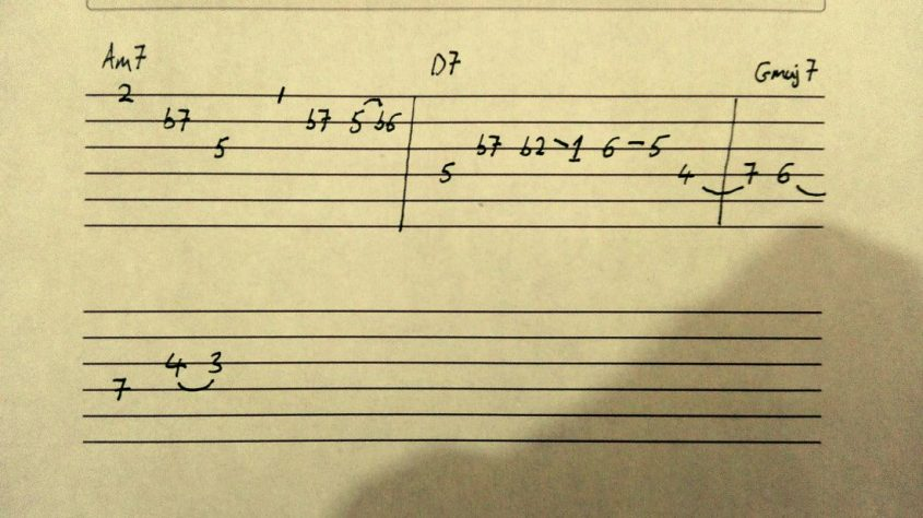 jazz lick for guitar interval notation